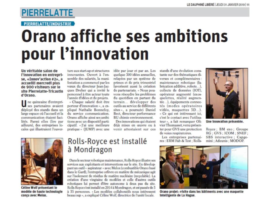 BMExo dans le dauphiné libéré pour sa participation à la journée innovation d'ORANO Tricastin