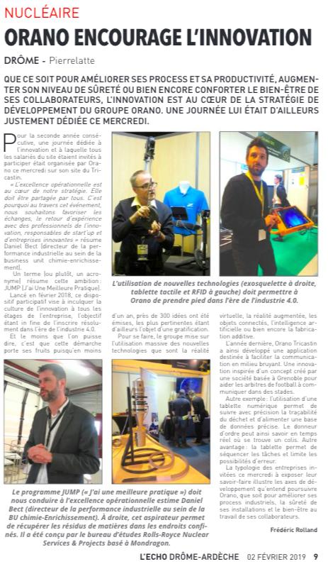 Article présentant les solutions BMExo lors de la journée de l'innovation 2019 d'ORANO Tricastin